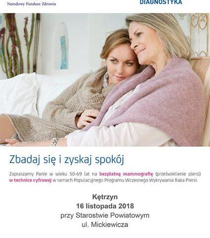 Bezpłatne badania mammograficzne – Kętrzyn 16.11.2018r. przy Starostwie Powiatowym w Kętrzynie