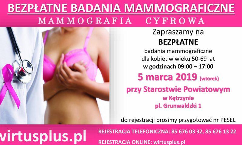 BEZPŁATNE BADANIE MAMMOGRAFICZNE! 05.03.2019 r.