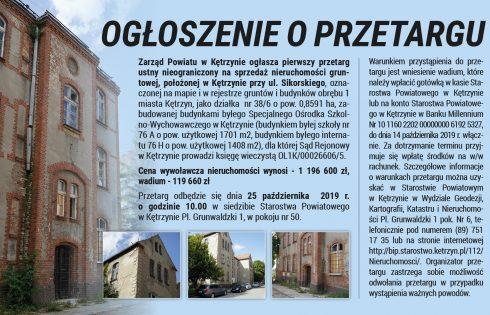 Zarząd Powiatu w Kętrzynie  ogłasza pierwszy przetarg ustny nieograniczony na sprzedaż nieruchomości gruntowej, położonej w Kętrzynie przy ul. Sikorskiego