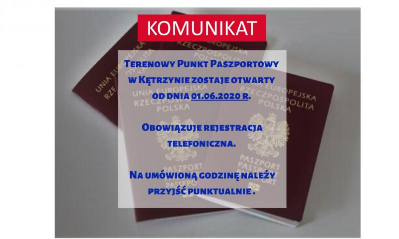 Komunikat w sprawie funkcjonowania terenowego punktu paszportowego w Starostwie Powiatowym w Kętrzynie