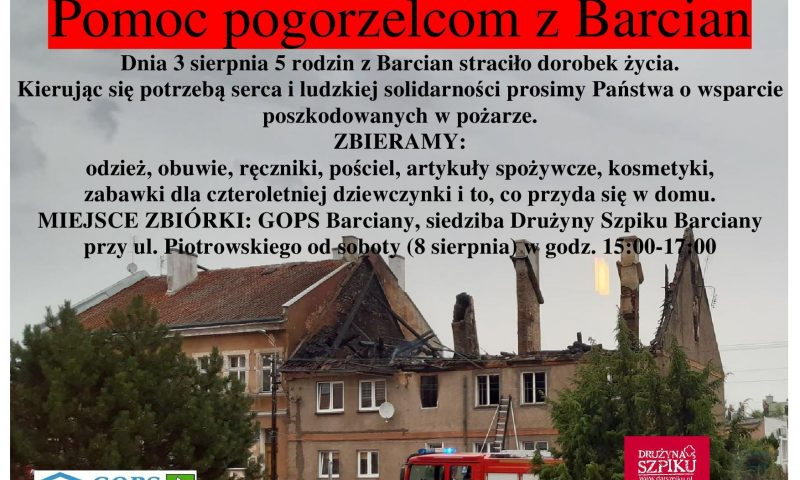 Apelujemy o pomoc pogorzelcom z Barcian