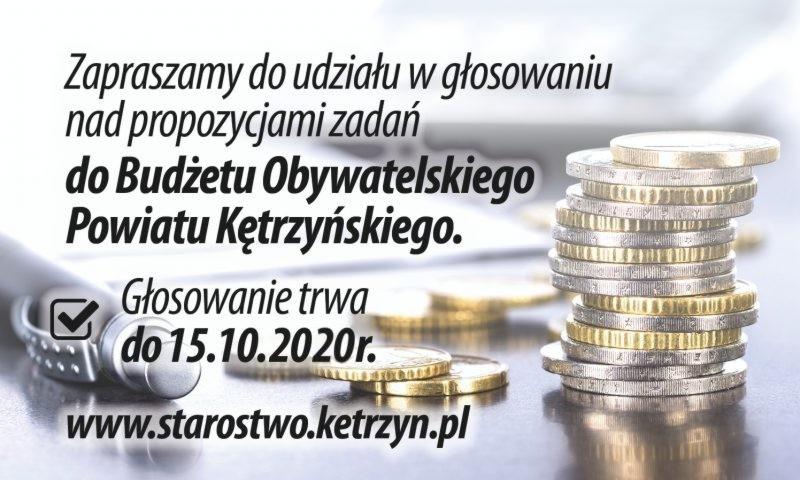 Zapraszamy do udziału w głosowaniu w drugiej edycji Budżetu Obywatelskiego Powiatu Kętrzyńskiego na 2021 r.