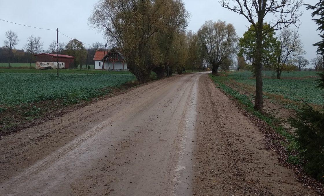 Fotografia przedstawia drogę powiatową nr 1580N na odcinku Dłużec Wielki - droga nr 1981N (po inwestycji)
