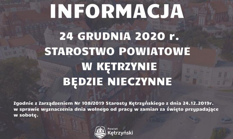 W dniu 24 grudnia Starostwo Powiatowe w Kętrzynie będzie zamknięte