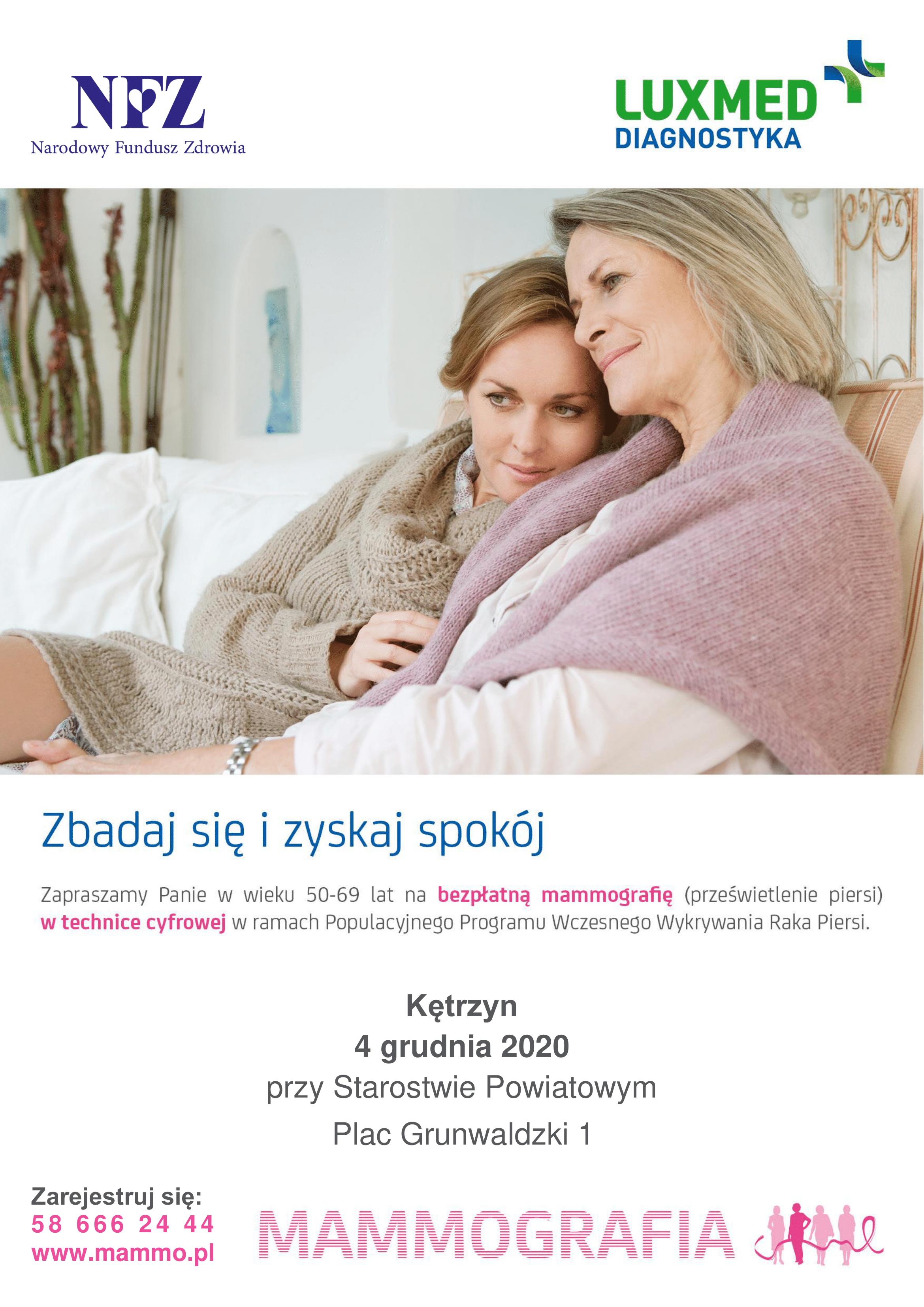 Plakat zapraszający Panie w wieku 50-69 na bezpłatną mammografię
