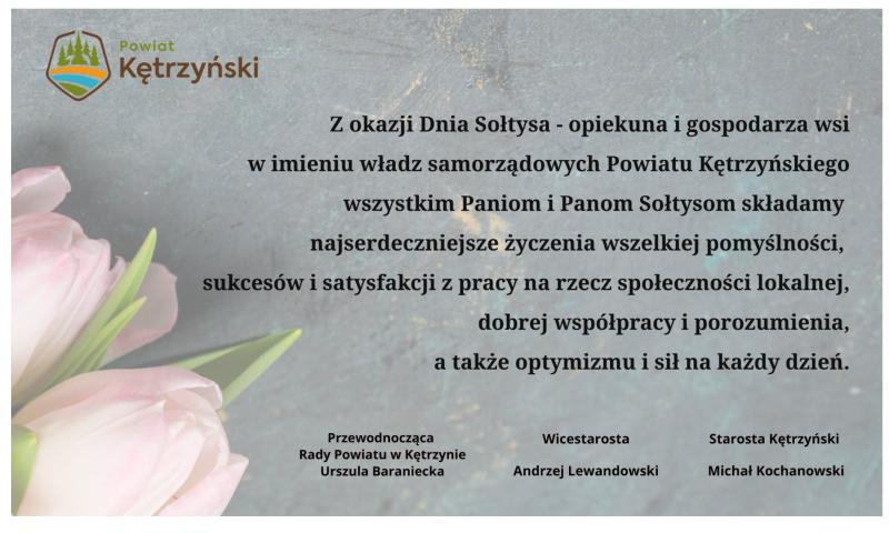 Życzenia z okazji Dnia Sołtysa 11 marca 2021 r.