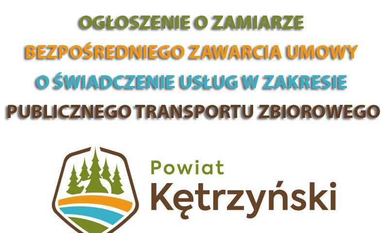 Ogłoszenie o zamiarze bezpośredniego zawarcia umowy o świadczenie usług w zakresie publicznego transportu zbiorowego