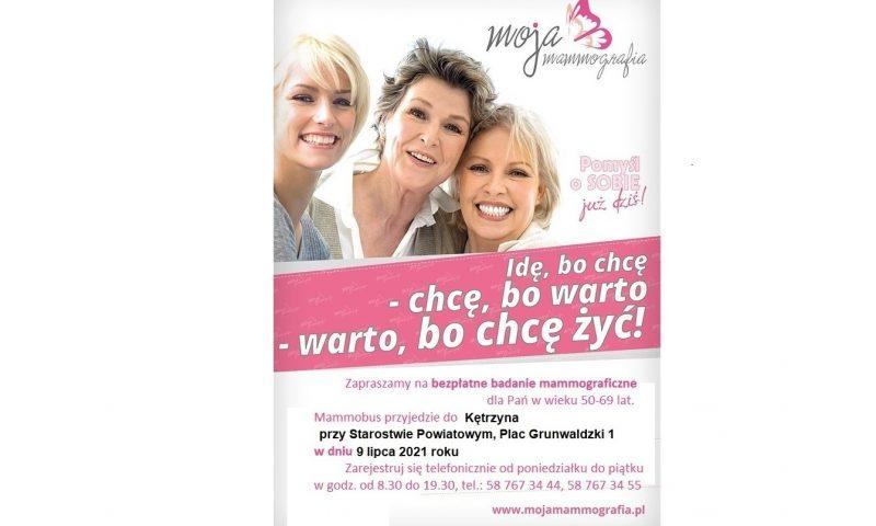 Badanie mammograficzne 9 lipca!