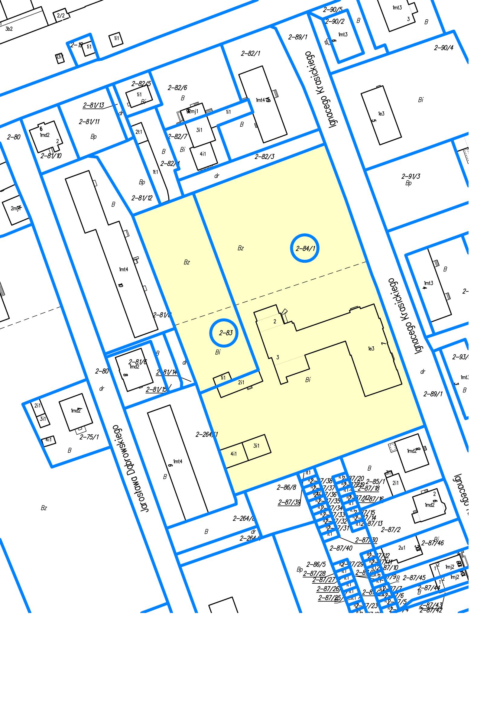 Mapka przedstawiająca działki nr 83 i 84/1 położonych w obrębie 2 miasto Reszel przy ul. Krasickiego w Reszlu