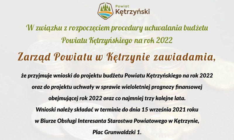Informacja ws. uchwalenia budżetu Powiatu Kętrzyńskiego na rok 2022