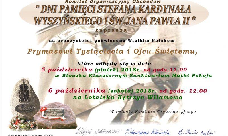 """Obchody """"Dni Pamięci Stefana Kardynała Wyszyńskiego i Św. Jana Pawła II"""""""