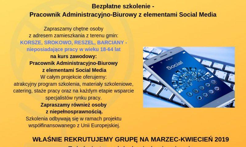 """Zapraszamy na bezpłatne szkolenie """"Pracownik administracyjno-biurowy z elementami Social Media"""""""