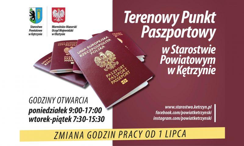 UWAGA!!  Zmiana godzin otwarcia Terenowego Punktu Paszportowego w Starostwie Powiatowym w Kętrzynie