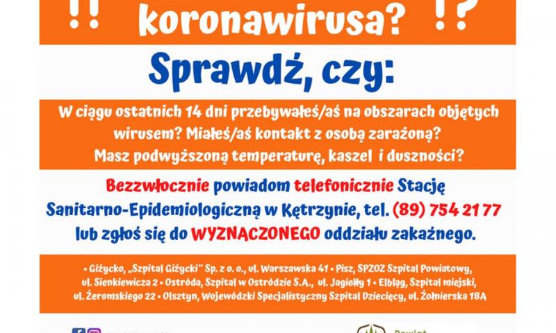 Pilne zalecenia przed koronawirusem
