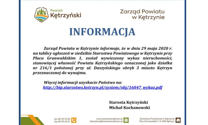 Informacja Zarządu Powiatu w Kętrzynie
