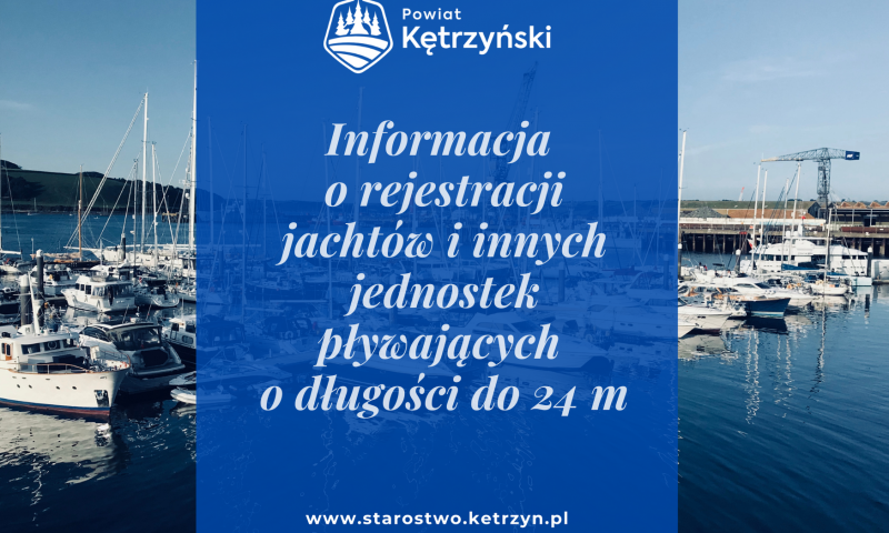 Informacja o rejestracji jachtów i innych jednostek pływających o długości do 24 m