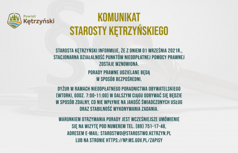 Komunikat starosty kętrzyńskiego w sprawie działalności punktu nieodpłatnej pomocy prawnej